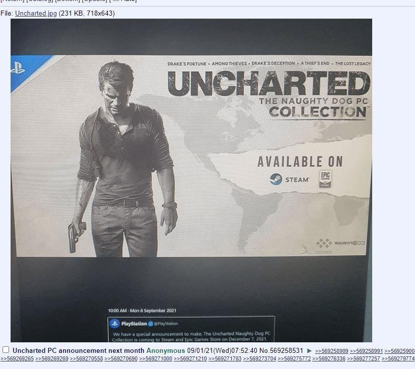 В Cети появилась предполагаемая дата выхода Uncharted на ПК