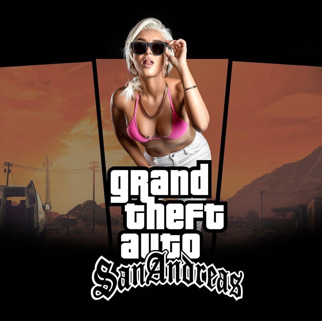 Случайная встреча жгучей блондинки с СиДжеем яркий косплей на GTA San Andreas