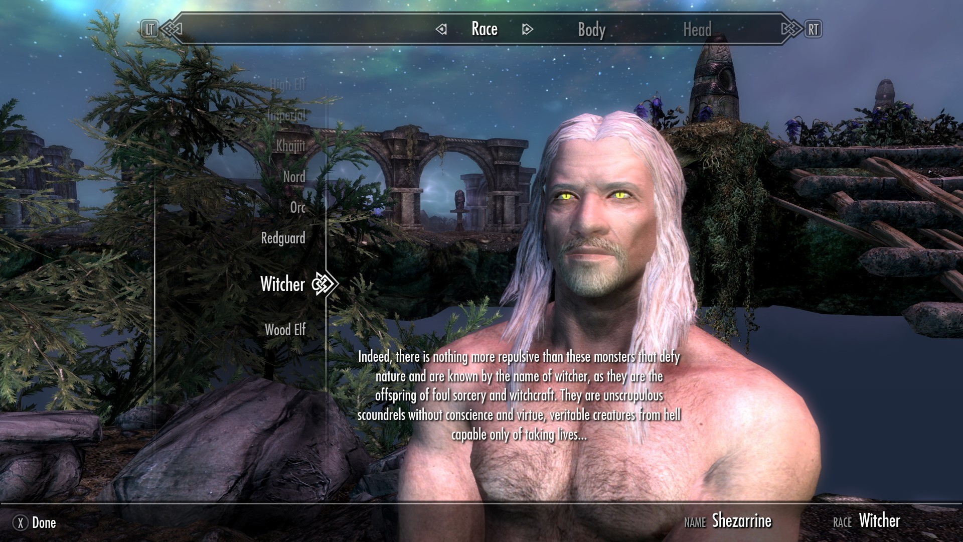 Новый мод для Skyrim добавил в игру расу ведьмаков из The Witcher 3