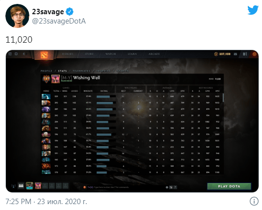 23savage преодолел планку в 11к MMR в Dota 2 и стал вторым игроком в мире которому удалось подобное